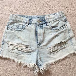 BLANKNYC Wedgie Destroyed Denim Shorts